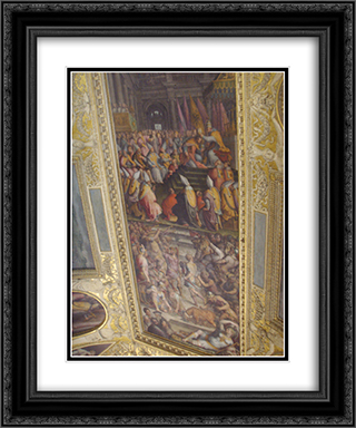 Clement VII crowns Charles V 20x24 Black or Gold Ornate Framed and Double Matted Art Print by Giorgio Vasari