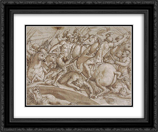 Defence of Ponte Rozzo on the river Ticino in 1524 24x20 Black or Gold Ornate Framed and Double Matted Art Print by Giorgio Vasari