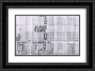 Design for the facade of Palazzo Ramirez de Montalvo 24x18 Black or Gold Ornate Framed and Double Matted Art Print by Giorgio Vasari