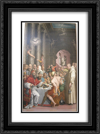 Dinner of St. Gregory the Great (Clement VII) 18x24 Black or Gold Ornate Framed and Double Matted Art Print by Giorgio Vasari