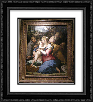 Holy Family with St. Francis in a Landscape 20x22 Black or Gold Ornate Framed and Double Matted Art Print by Giorgio Vasari