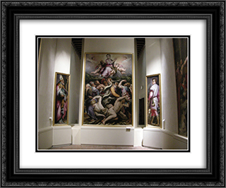 Immaculate Conception (center), St. Eustachian (left) and St. Blaise (rigth) 24x20 Black or Gold Ornate Framed and Double Matted Art Print by Giorgio Vasari