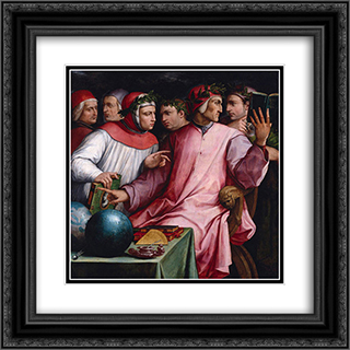 Italian Humanists (Six Tuscan Poets) 20x20 Black or Gold Ornate Framed and Double Matted Art Print by Giorgio Vasari