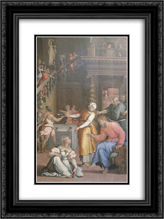 Jesus Christ in the House of Martha and Mary 18x24 Black or Gold Ornate Framed and Double Matted Art Print by Giorgio Vasari
