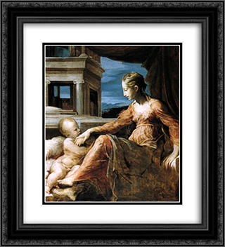 Madonna 20x22 Black or Gold Ornate Framed and Double Matted Art Print by Giorgio Vasari