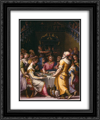Marriage at Cana 20x24 Black or Gold Ornate Framed and Double Matted Art Print by Giorgio Vasari