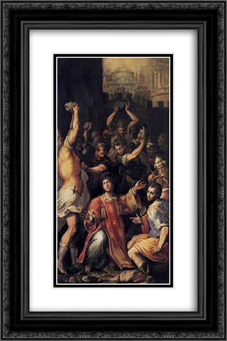 Martyrdom of St. Stephen 16x24 Black or Gold Ornate Framed and Double Matted Art Print by Giorgio Vasari