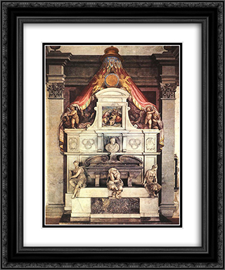 Monument to Michelangelo 20x24 Black or Gold Ornate Framed and Double Matted Art Print by Giorgio Vasari