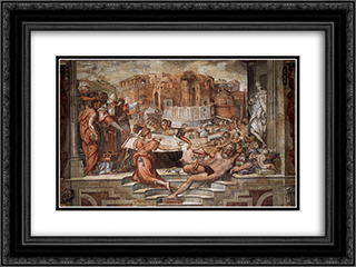 Paul III Farnese Directing the Continuance of St Peter's 24x18 Black or Gold Ornate Framed and Double Matted Art Print by Giorgio Vasari