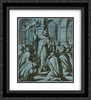 Peter of Verona exorcising a demon personified by a Madonna and Child 20x22 Black or Gold Ornate Framed and Double Matted Art Print by Giorgio Vasari