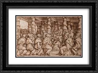 Pope Leo X Appointing Cardinals 24x18 Black or Gold Ornate Framed and Double Matted Art Print by Giorgio Vasari