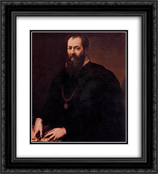 Self-portrait 20x22 Black or Gold Ornate Framed and Double Matted Art Print by Giorgio Vasari