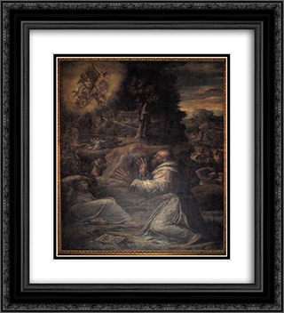St. Francis receiving the Stigmata 20x22 Black or Gold Ornate Framed and Double Matted Art Print by Giorgio Vasari