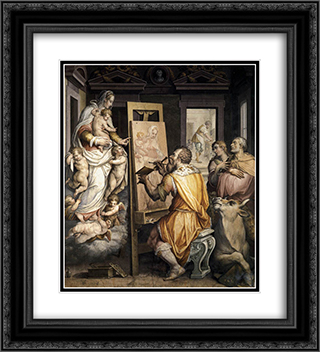 St. Luke Painting the Virgin 20x22 Black or Gold Ornate Framed and Double Matted Art Print by Giorgio Vasari