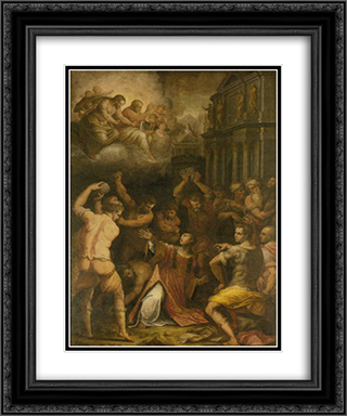 Stoning of St. Stephen 20x24 Black or Gold Ornate Framed and Double Matted Art Print by Giorgio Vasari
