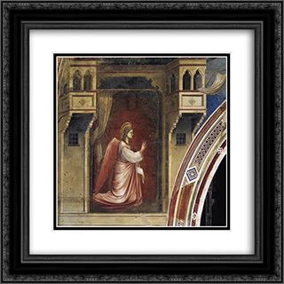 Annunciation The Angel Gabriel Sent by God 20x20 Black or Gold Ornate Framed and Double Matted Art Print by Giotto