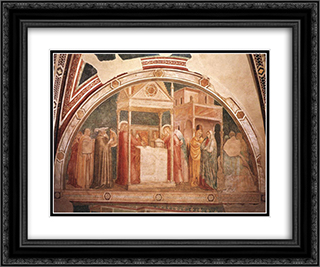 Annunciation to Zacharias 24x20 Black or Gold Ornate Framed and Double Matted Art Print by Giotto