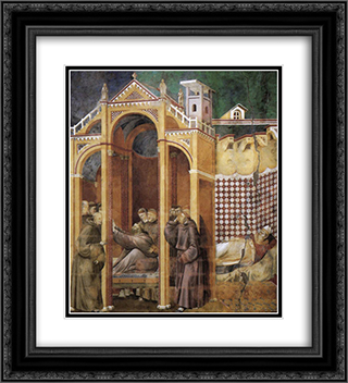 Apparition to Fra Agostino and to Bishop Guido of Arezzo 20x22 Black or Gold Ornate Framed and Double Matted Art Print by Giotto