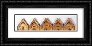 Badia Polyptych 24x12 Black or Gold Ornate Framed and Double Matted Art Print by Giotto