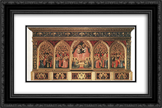 Baroncelli Polyptych 24x16 Black or Gold Ornate Framed and Double Matted Art Print by Giotto
