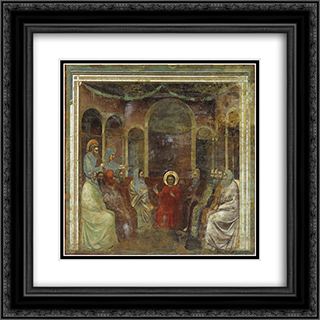 Christ among the Doctors 20x20 Black or Gold Ornate Framed and Double Matted Art Print by Giotto