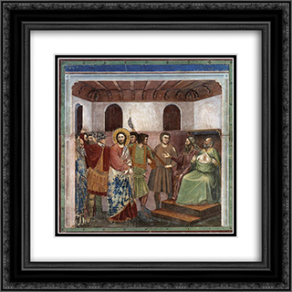 Christ Before Caiaphas 20x20 Black or Gold Ornate Framed and Double Matted Art Print by Giotto