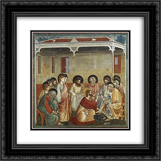Christ Washing the Disciples' Feet 20x20 Black or Gold Ornate Framed and Double Matted Art Print by Giotto