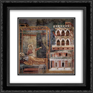 Dream of the Palace 20x20 Black or Gold Ornate Framed and Double Matted Art Print by Giotto