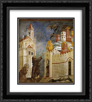 Exorcism of the Demons at Arezzo 20x22 Black or Gold Ornate Framed and Double Matted Art Print by Giotto