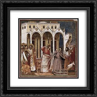 Expulsion of the Money-changers 20x20 Black or Gold Ornate Framed and Double Matted Art Print by Giotto