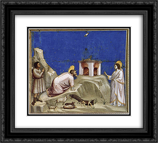 Joachim's Sacrificial Offering 22x20 Black or Gold Ornate Framed and Double Matted Art Print by Giotto