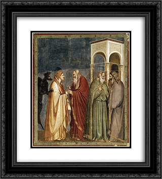 Judas Receiving Payment for his Betrayal 20x22 Black or Gold Ornate Framed and Double Matted Art Print by Giotto