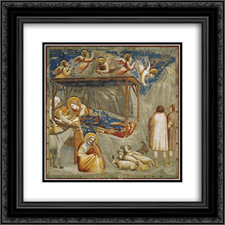 Nativity. Birth of Jesus 20x20 Black or Gold Ornate Framed and Double Matted Art Print by Giotto