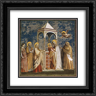 Presentation of Christ at the Temple 20x20 Black or Gold Ornate Framed and Double Matted Art Print by Giotto