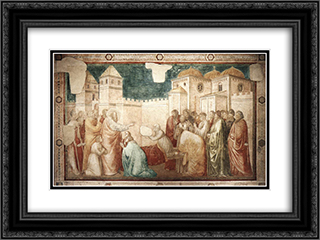 Raising of Drusiana 24x18 Black or Gold Ornate Framed and Double Matted Art Print by Giotto