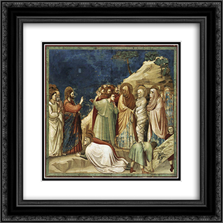 Raising of Lazarus 20x20 Black or Gold Ornate Framed and Double Matted Art Print by Giotto