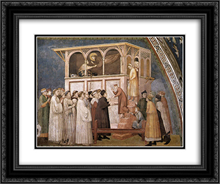 Raising of the Boy in Sessa 24x20 Black or Gold Ornate Framed and Double Matted Art Print by Giotto