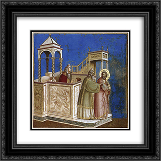 Rejection of Joachim's Sacrifice 20x20 Black or Gold Ornate Framed and Double Matted Art Print by Giotto