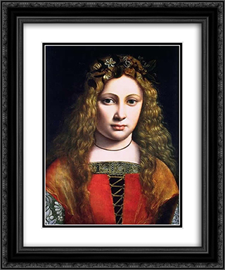 A Youth Crowned with Flowers 20x24 Black or Gold Ornate Framed and Double Matted Art Print by Giovanni Antonio Boltraffio