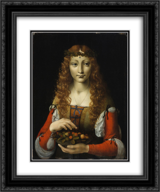 Girl with Cherries (also attributed to Giovanni Ambrogio de Predis) 20x24 Black or Gold Ornate Framed and Double Matted Art Print by Giovanni Antonio Boltraffio
