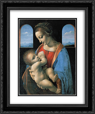 Madonna Litta 20x24 Black or Gold Ornate Framed and Double Matted Art Print by Giovanni Antonio Boltraffio