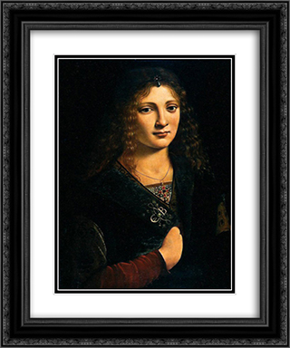 Portrait alleged to be of Anne Whateley (in fact likely to be Girolamo Casio) 20x24 Black or Gold Ornate Framed and Double Matted Art Print by Giovanni Antonio Boltraffio