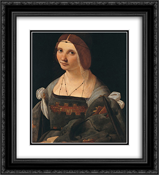 Portrait of a Lady 20x22 Black or Gold Ornate Framed and Double Matted Art Print by Giovanni Antonio Boltraffio