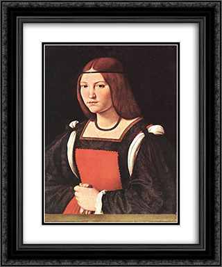 Portrait of a Young Woman 20x24 Black or Gold Ornate Framed and Double Matted Art Print by Giovanni Antonio Boltraffio