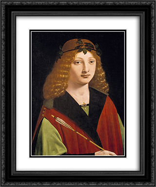 Portrait of a Youth Holding an Arrow 20x24 Black or Gold Ornate Framed and Double Matted Art Print by Giovanni Antonio Boltraffio