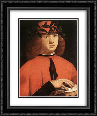 Portrait of Gerolamo Casio 20x24 Black or Gold Ornate Framed and Double Matted Art Print by Giovanni Antonio Boltraffio