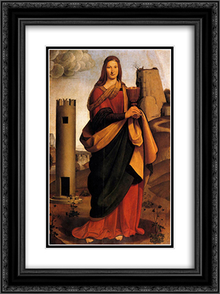 St. Barbara 18x24 Black or Gold Ornate Framed and Double Matted Art Print by Giovanni Antonio Boltraffio