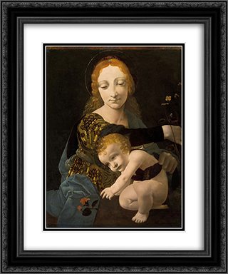 The Virgin and Child (The Madonna of the Rose) 20x24 Black or Gold Ornate Framed and Double Matted Art Print by Giovanni Antonio Boltraffio
