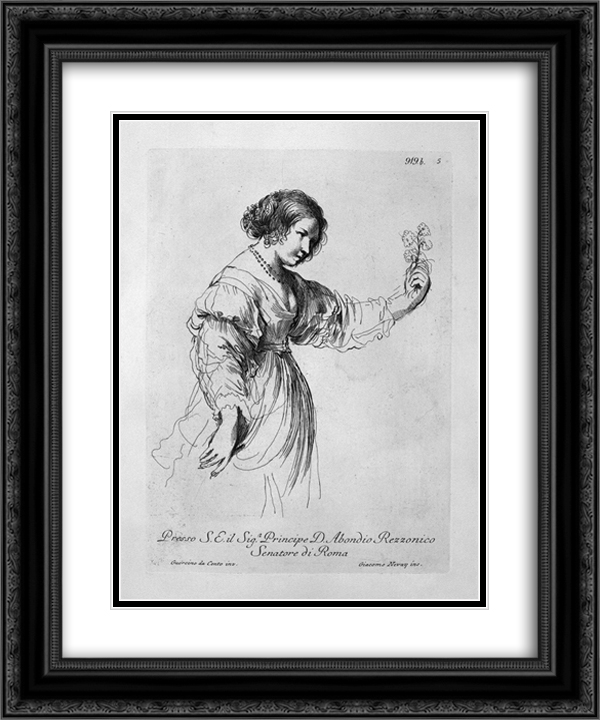 Half figure of a woman holding out a flower 20x24 Black or Gold Ornate Framed and Double Matted Art Print by Giovanni Battista Piranesi