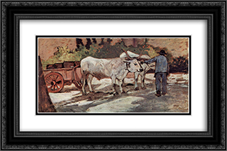 Bauer mit Ochsenkarren 24x16 Black or Gold Ornate Framed and Double Matted Art Print by Giovanni Fattori
